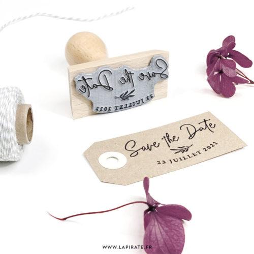 Tampon save the date calligraphie végétal personnalisé