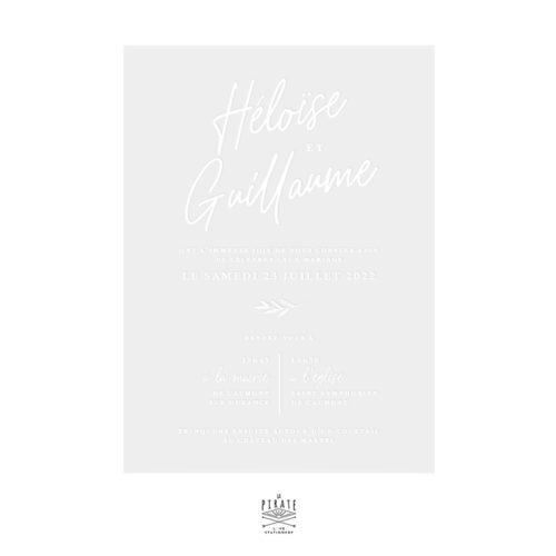 Faire-part mariage calque blanc, calligraphie - Collection Rosie, mariage chic et élégant à personnaliser