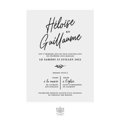 Faire-part mariage calque noir, calligraphie - Collection Rosie, mariage chic et élégant à personnaliser