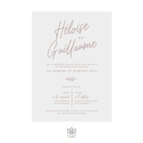 Faire-part mariage calque nude, calligraphie - Collection Rosie, mariage chic et élégant à personnaliser