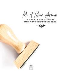 Tampon adresse calligraphie personnalisé, tampon encreur bois
