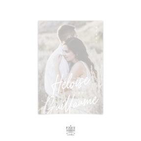Carte remerciements mariage photo, calque et calligraphie impression blanc, collection Rosie, mariage élégant