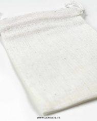 Pochon en coton fin, naturel, lien de serrage – 7×9 cm