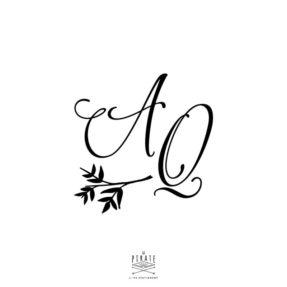 Stickers boite à alliance personnalisé de vos initiales calligraphie, vintage
