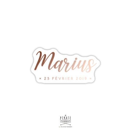 Stickers naissance cuivré personnalisé, Marius, thème délicat