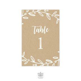 Numéro de table champêtre, Kraft et blanc. Collection couronne d'Olivier
