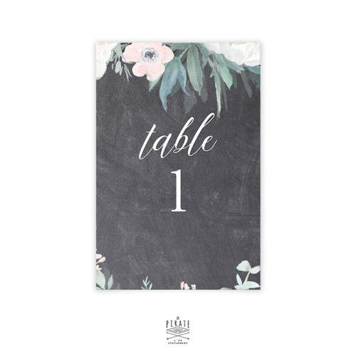 Numéro de table ardoise et fleurs vintage à personnaliser