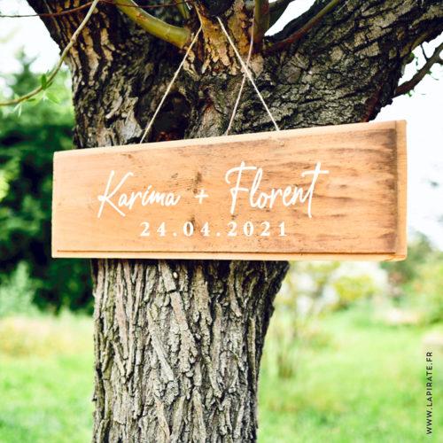 Stickers prénoms et date mariage personnalisé manuscrit, panneau bois mariage, texte personnalisé