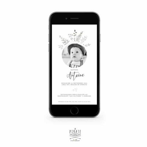 Faire-part bapteme électronique Antoine, invitation baptême digitale, thème botanique avec photo