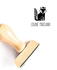 Tampon ex-libris renard en bois, personnalisé de votre nom