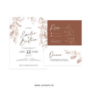 Ensemble mariage eucalyptus automne classique, terracotta - Collection Sienne