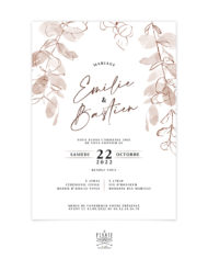 Faire-part mariage automne, eucalyptus – Collection bohème Sienne