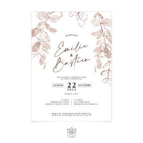 Faire-part mariage automne, eucalyptus - Collection bohème Sienne