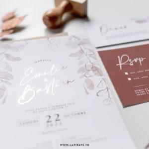 Faire-part mariage eucalyptus automnal, cuivre en option - Collection Sienne