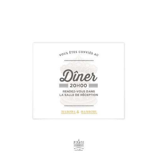 Invitation repas mariage Carrousel, fête foraine, guinguette