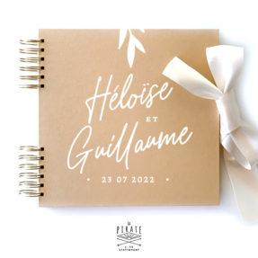 Livre d'or calligraphie personnalisé, livre d'or kraft élégant | Collection Rosie - kraft & blanc