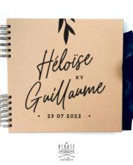 Livre d'or calligraphie personnalisé, livre kraft élégant | Collection Rosie