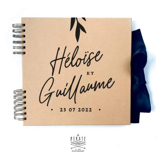 Livre d'or calligraphie personnalisé, livre d'or kraft élégant   Collection Rosie - kraft & noir