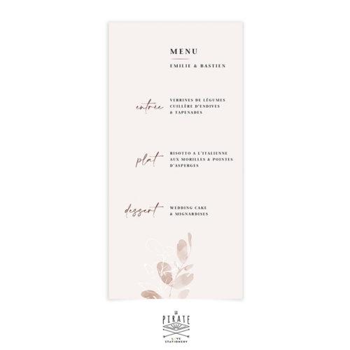 Menu mariage automnal, eucalyptus bohème - Collection Sienne