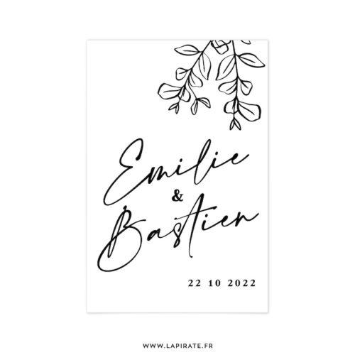 Stickers bienvenue mariage automne, eucalyptus bohème, collection Sienne