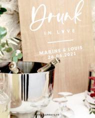 Stickers déco mariage Drunk in Love personnalisé, mariage vintage