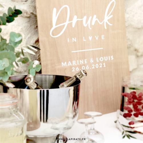 Stickers déco mariage Drunk in Love personnalisé de vos prénoms & date, pour la déco de votre bar à cocktail, photobooth - mariage vintage