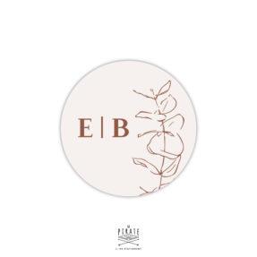 Stickers rond mariage automne, eucalyptus bohème - beige et terracotta- Collection Sienne