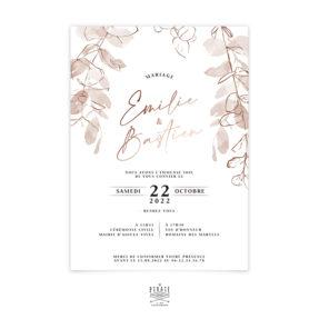Faire-part mariage automne, dorure cuivre, eucalyptus - Collection bohème Sienne