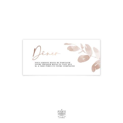 Invitation repas mariage automne et bohème, dorure cuivre en option, eucalyptus - Collection mariage Sienne