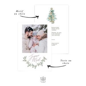 Carte de voeux personnalisée avec photo, Joyeux Noël, texte et motif au choix