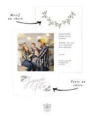 Carte de voeux personnalisée avec photo, Noël, texte et motif au choix