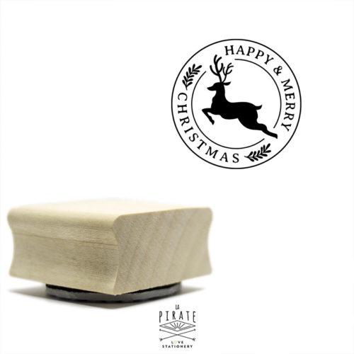 Tampon Happy & Merry Christmas, esprit cachet postal et motif Renne, tampon Noël rond