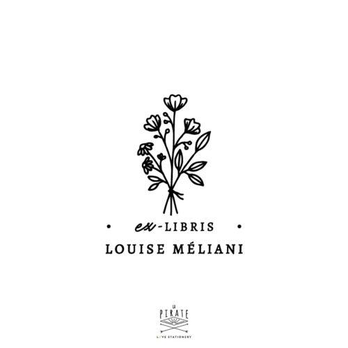Tampon ex-libris bouquet de fleurs, personnalisé de votre nom. Ex-libris fleurs, fleuri