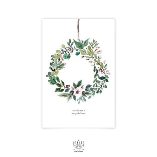 Carte de voeux Joyeux Noël, couronne de Noël aquarelle peinte à la main - carte Noël