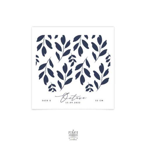 Faire-part naissance carré personnalisé 1 photo, feuilles aquarelles peintes à la main - Collection Octave