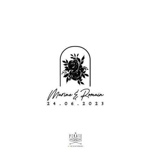 Tampon mariage bohème roses sous cloche et calligraphie, mariage bohème, fleuri