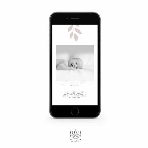 Faire-part naissance Cassandre électronique personnalisé avec photo, feuilles aquarelles peintes à la main - Collection Cassandre