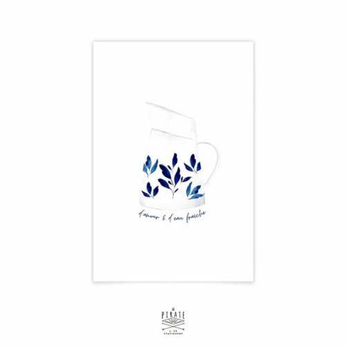 """Carte postale """"D'amour et d'eau fraîche"""" - pot à eau vintage, aquarelle , peint à la main - La Pirate"""