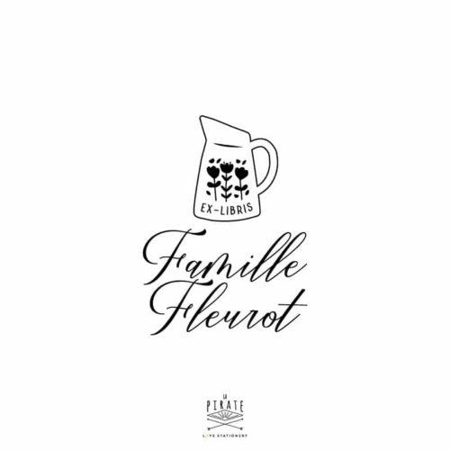 Tampon ex-libris pot à lait fleuri, vintage à personnaliser de votre nom, prénom, famille - La Pirate
