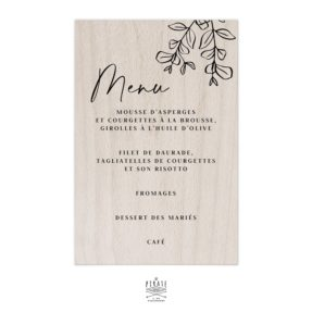 Stickers menu mariage bohème personnalisé pour miroir, plexi, bois, coloris au choix