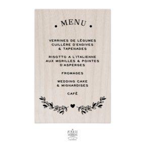 Stickers menu mariage bohème folk personnalisé pour miroir, plexi, bois coloris au choix