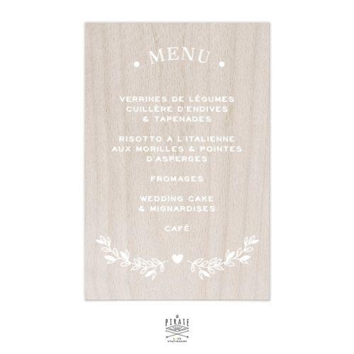 Stickers menu mariage bohème folk personnalisé pour miroir, bois, plexi   Collection Bohème Folk