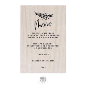 Stickers menu mariage bohème Sahanna personnalisé pour miroir, plexi, bois coloris au choix