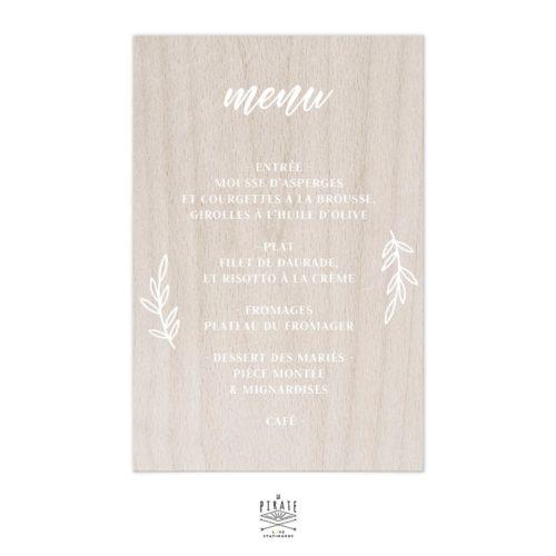 Stickers menu mariage champêtre personnalisé pour miroir, bois, plexi | Collection Fines branches
