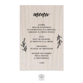 Stickers menu mariage champêtre personnalisé pour miroir, plexi, bois coloris au choix