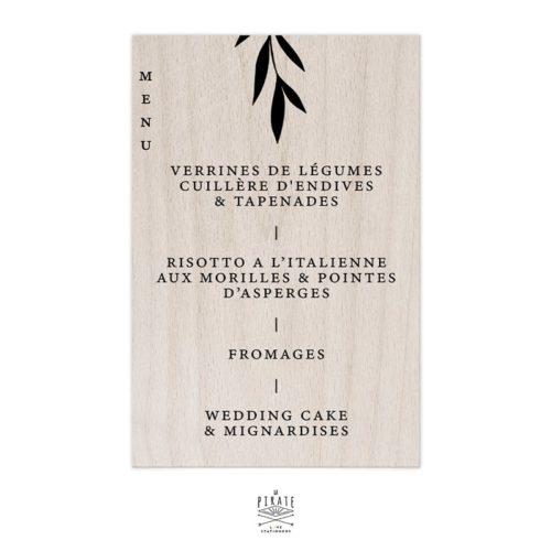 Stickers menu mariage élégant personnalisé à coller sur miroir, bois, plexi, ...