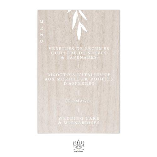 Stickers menu mariage élégant personnalisé | Collection Rosie