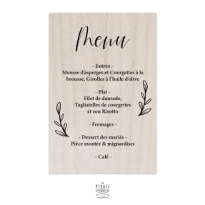 Stickers menu mariage végétal personnalisé pour miroir, plexi, bois coloris au choix