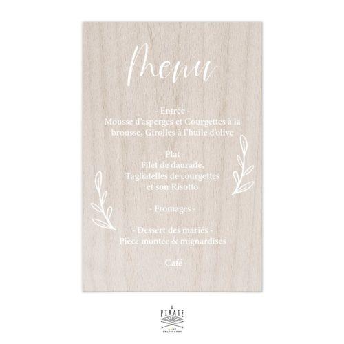Stickers menu mariage végétal personnalisé pour miroir, bois, plexi | Collection Love & Bloom