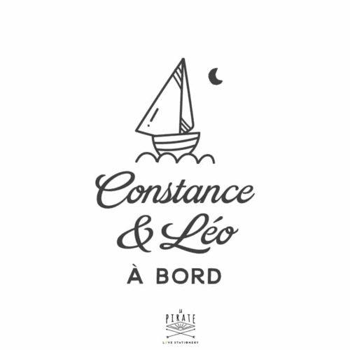 Stickers bébé à bord bateau, marin, voyage, personnalisé - La Pirate
